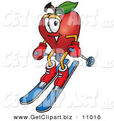 Clip Art of a Red Apple Character Mascot Skiing Downhill in the Snow by Toons4Biz