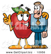 Clip Art of a Red Apple Character Mascot Talking Nutrition with an Interested Business Man by Toons4Biz