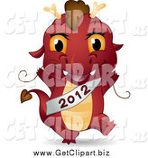 Clip Art of a Red Dragon Wearing a New Year 2012 Sash by BNP Design Studio