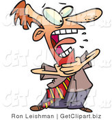 Clip Art of a Red Faced Business Man Grabbing His Neck While Choking on Food by Toonaday