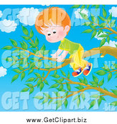Clip Art of a Red Haired Boy on a Tree Branch by Alex Bannykh
