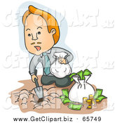 Clip Art of a Red Haired Caucasian Businessman Burying His Money in the Dirt by BNP Design Studio