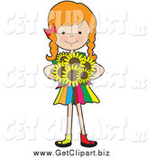 Clip Art of a Red Haired Caucasian Girl Holding Sunflowers by Maria Bell