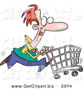 Clip Art of a Red Haired Caucasian Man Pushing a Shopping Cart in the Store by Toonaday