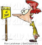 Clip Art of a Red Headed Woman Reading a Yellow Sign That Says Beware of Sign by Toonaday