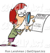 Clip Art of a Red Headed Woman Using a Magnifying Glass to Read the Fine Print on a Document by Toonaday