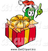 Clip Art of a Rolled Money Character Standing by a Christmas Present by Toons4Biz