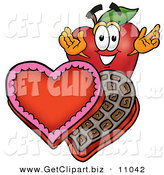 Clip Art of a Romantic Grinning Red Apple Character Mascot with an Open Box of Valentines Day Chocolate Candies by Toons4Biz