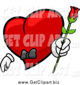 Clip Art of a Romantic Red Heart Character Holding out a Rose by BNP Design Studio