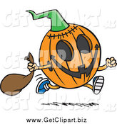 Clip Art of a Running Halloween Jackolantern Pumpkin by Toonaday