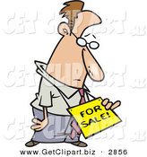Clip Art of a Sad or Depressed White Business Man Wearing a for Sale Sign Around His Neck by Toonaday
