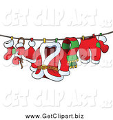 Clip Art of a Santa's Laundry on a Clothesline by Visekart