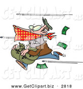 Clip Art of a Scared Bank Robber Running with Money, Bullets Being Shot at Him by Toonaday