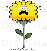 Clip Art of a Scared Dandelion Flower by Cory Thoman
