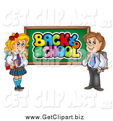 Clip Art of a School Boy and Girl by a Back to School Chalk Board by Visekart