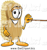 Clip Art of a Scrub Brush Character Using a Pointer Stick by Toons4Biz