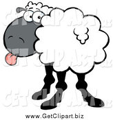 Clip Art of a Sheep Turning Its Head Back and Sticking Its Tongue out by Hit Toon