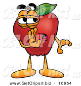 Clip Art of a Shifty Red Apple Character Mascot Whispering Secrets by Toons4Biz