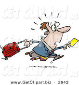 Clip Art of a Shocked Late Traveler Man Running and Pulling His Luggage at the Airport by Toonaday