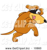 Clip Art of a Shy Brown Dog Mascot Cartoon Character with a Mask over His Eyes, Being Sneaky by Toons4Biz