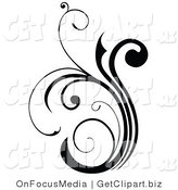 Clip Art of a Silhouetted Black Scroll Design Element Growing up by OnFocusMedia