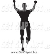 Clip Art of a Silhouetted Victorious Runner Man by Andy Nortnik