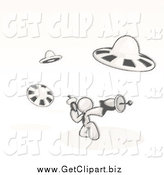 Clip Art of a Sketched Man Fighting off Ufo's with Weapons by Leo Blanchette