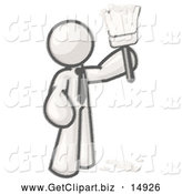 Clip Art of a Sketched Man Painter Holding a Dripping Paint Brush by Leo Blanchette