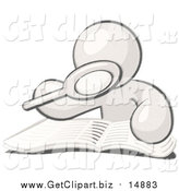 Clip Art of a Sketched Man Using a Magnifying Glass to Examine the Facts in the Daily Newspaper by Leo Blanchette