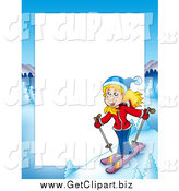 Clip Art of a Skiing Blond White Girl Border Frame Around White Space by Visekart