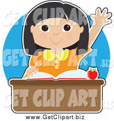 Clip Art of a Smart Asian Girl Raising Her Hand at Her School Desk by Maria Bell