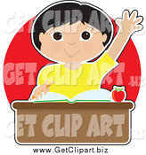 Clip Art of a Smart Asian School Boy Raising His Hand at His Desk over Red by Maria Bell