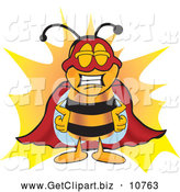 Clip Art of a Smiling Bee Mascot Cartoon Character Dressed As a Super Hero by Toons4Biz