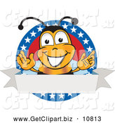 August 19th, 2013: Clip Art of a Smiling Bee Mascot Cartoon Character with Stars on a Blank Label by Toons4Biz