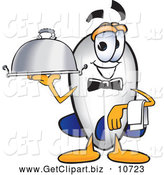 Clip Art of a Smiling Blimp Mascot Cartoon Character Holding a Serving Platter by Toons4Biz