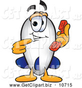 Clip Art of a Smiling Blimp Mascot Cartoon Character Holding and Pointing to a Telephone by Toons4Biz
