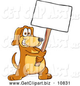August 9th, 2013: Clip Art of a Smiling Brown Dog Mascot Cartoon Character Holding a Blank White Sign by Toons4Biz