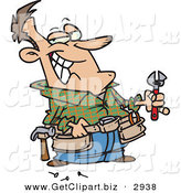Clip Art of a Smiling Caucasian Handy Man Holding Tools and Smiling by Toonaday