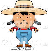 Clip Art of a Smiling Happy Black Haired Farmer Girl by Cory Thoman