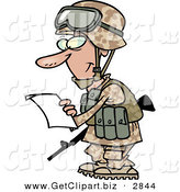 Clip Art of a Smiling Marine Soldier Man in a Camouflage Uniform and Helmet, Reading a Letter by Toonaday