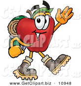 Clip Art of a Smiling Red Apple Character Mascot Hiking and Carrying a Backpack by Toons4Biz