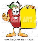 June 2nd, 2013: Clip Art of a Smiling Red Apple Character Mascot Holding a Blank Yellow Price Tag for a Sale by Toons4Biz