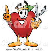 Clip Art of a Smiling Red Apple Character Mascot Holding a Pair of Scissors by Toons4Biz