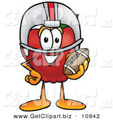 Clip Art of a Smiling Red Apple Character Mascot in a Helmet, Holding a Football by Toons4Biz