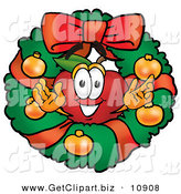 Clip Art of a Smiling Red Apple Character Mascot in the Center of a Holiday Christmas Wreath by Toons4Biz