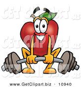 Clip Art of a Smiling Red Apple Character Mascot Lifting a Heavy Barbell by Toons4Biz