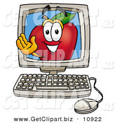 Clip Art of a Smiling Red Apple Character Mascot on a Desktop Computer Screen by Toons4Biz