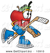 Clip Art of a Smiling Red Apple Character Mascot Playing Ice Hockey by Toons4Biz