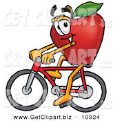 Clip Art of a Smiling Red Apple Character Mascot Riding a Bicycle by Toons4Biz
