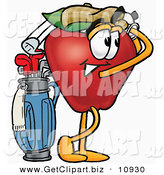 Clip Art of a Smiling Red Apple Character Mascot Swinging His Golf Club While Golfing by Toons4Biz